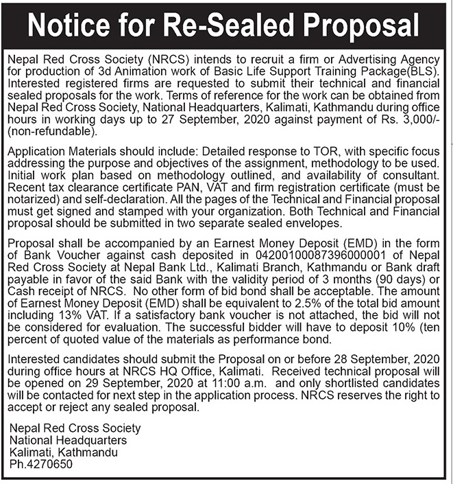 Notice for Re Sealed Proposal