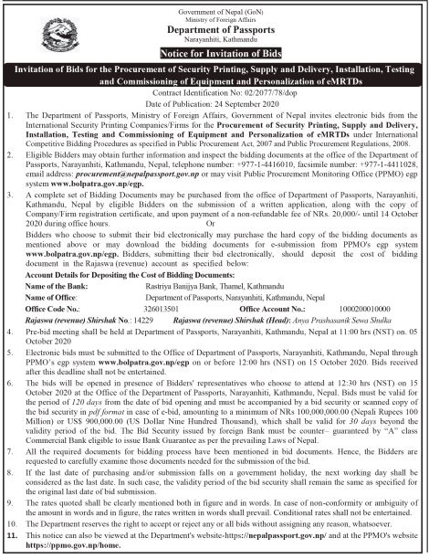 Invitation of Bids for the Procurement of Security Printing, Supply and Delivery, Installation, Testing and Commissioning of Equipment and Personalization of eMRTDs