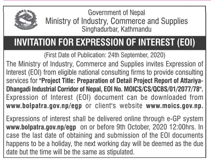 INVITATION FOR EXPRESSION OF INTEREST (EOI)