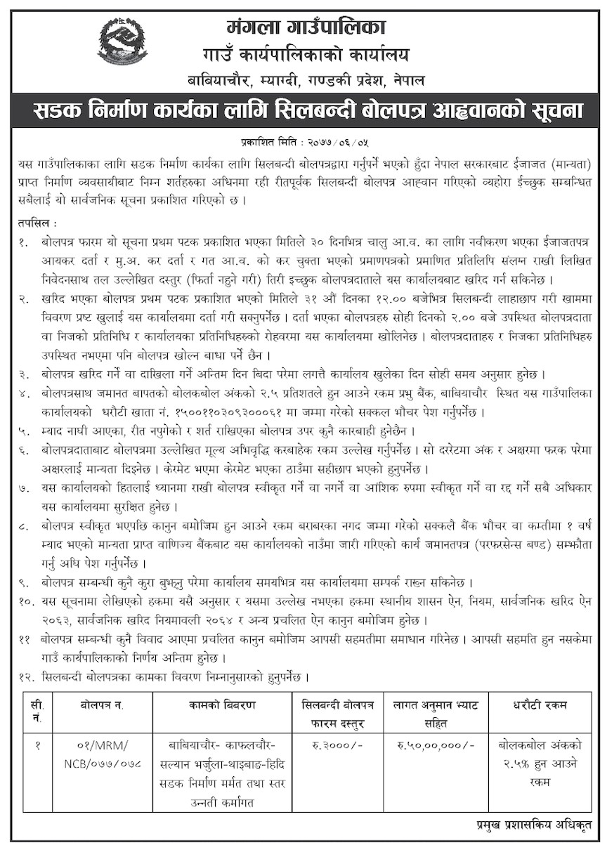 Notice of Call for Sealed Bids for Road Construction