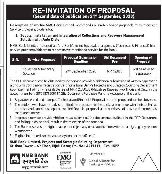 Re- Invitation of Proposal