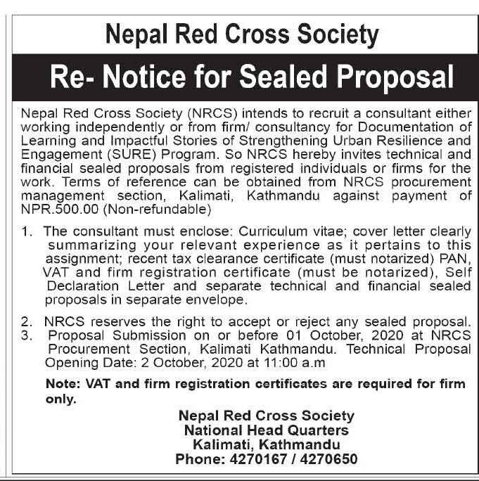 Re- Notice for Sealed Proposal